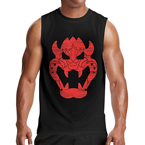 (Men's Bowser Muscle Tank Vest Hip Pop Sleeveless T Shirt XL Gift Black)