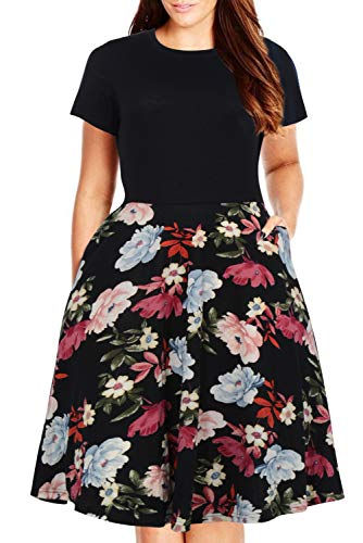 Nemidor Women's Round Neck Summer Casual Plus Size Fit and Flare Midi Dress with Pocket (Peony, 14W) by Nemidor