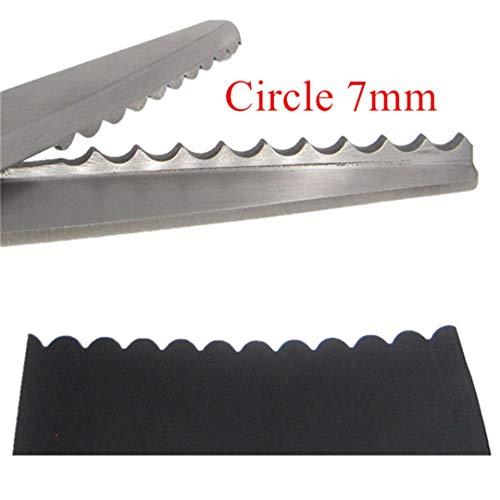 (H-Honetuk 23.5Cm Zig Zag Sewing Cut Dressmaking Tailor Shear Pinking Scissor Leather Craft Fabric Upholstery Tool Textile Denim Circle 7mm)