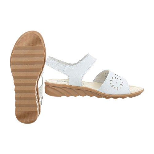 Ital-Design Riemchensandalen Leder Damenschuhe Klettverschluss Sandalen & Sandaletten Weiß 5018-1