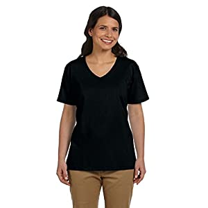 Hanes Women's ComfortSoft V-Neck Cotton T-Shirt, Black, Large