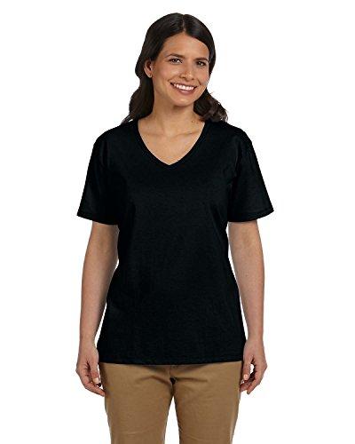 Hanes Women's 6.1 oz. Tagless V-Neck T-Shirt, Black, XL