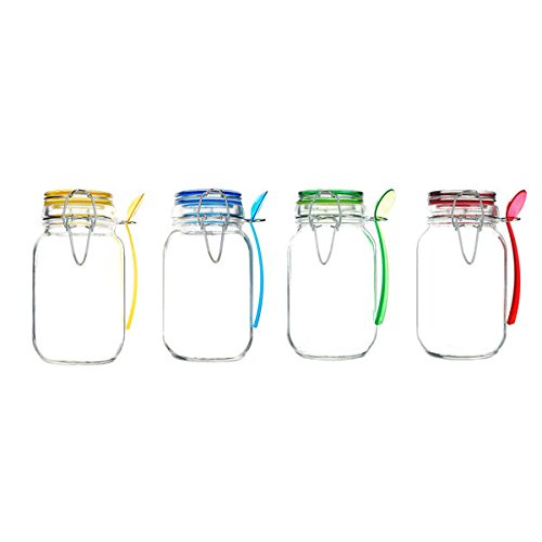 Kinetic GoGreen Glass 15-ounce Mini Jar With Jewel-colored Lid and Spoon (Pack of 4) (Mini Plastic Spice Jars compare prices)