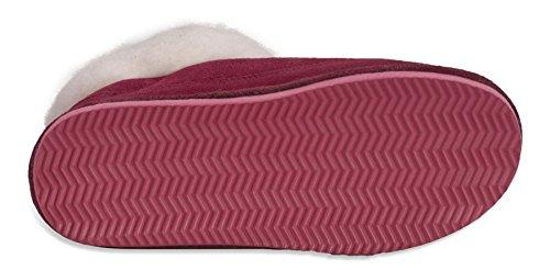 Nordvek - Damen Pantoffeln aus echtem Veloursleder mit Schaffell-Wolle & Synthetik-Mix - # 440-100 Rot