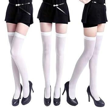 uyhghjhb Medias de Terciopelo Opaco de Color Puro de Mujer Muslo Alto Medias Altas Sobre los Calcetines hasta la Rodilla