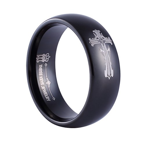 Three Keys Jewelry 8mm Tungsten Carbide Ring Wedding Engagement Band Dome Black Polish Laser Christan Celtic Gothic Punk Cross Size 14.5