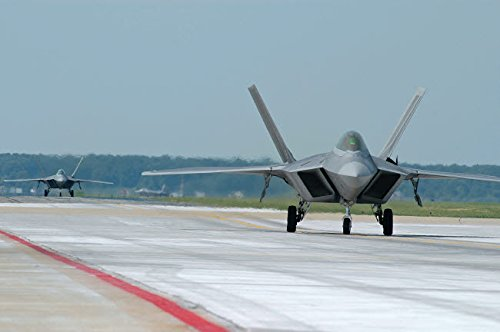 US Air Force F-22A Raptor taxiing at Langley Air Force Base Virginia Poster Print by Riccardo NiccoliStocktrek Images (17 x - Air Langley Base Force