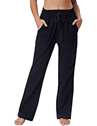 Women 4 Pockets Comfort Fit Straight Leg Drawsting Pant Trouser