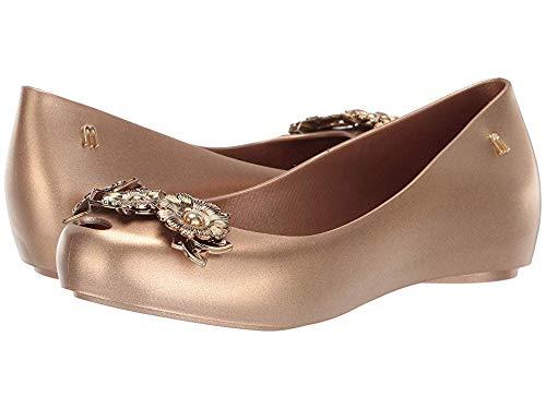 Melissa Womens Harmonic Flower Chrome Ballet Flat, Gold, Size 9
