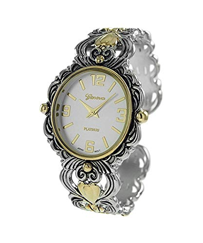 (Rosemarie Collections Women's Stylish Two Tone Concho Bangle with Intricate Detail Cuff Bracelet Watch)