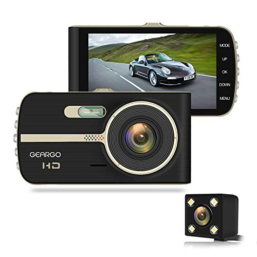 GEARGO Dash Cam 4″ Display 1080P HD Overhead Dashboard Mounted Camera Car Video Recorder with Dual Camera Wide Angle, G-Sensor, Loop Recording, Night Vision