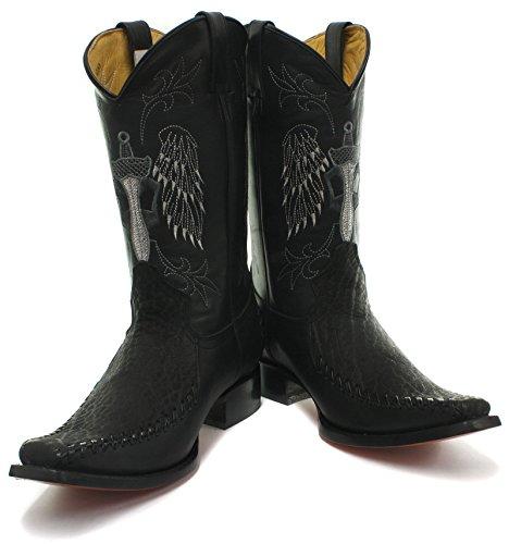 Grinders Kansas Uomo Pelle Western Cowboy Stivali, Nero, Taglia 45