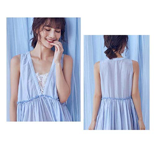 Camisones Dormir Verano Moda Basic Exquisito Ropa Plisado Camisón Sleeveless Mujer Vestido Cute De Albornoz Blau Pijamas Encaje Elegante Splice pg6Cpaxqw