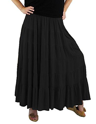 Skirt Crinkle Tier (We Be Bop Womens Plus Size Solid Crinkle Rayon Tiered Skirt 0 X 1X 2 X 3X 4 X 5X 6X (6XWaist 46-80/Hip 84/Length 36, Black))
