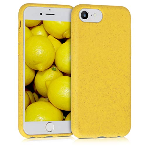 kalibri Case for Apple iPhone 7/8 - Phone Cover Made of TPU and Eco-Friendly Natural Wheat Straw - Yellow