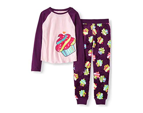 Girl's 2 Piece Cozy Graphic Top and Loose Fit Pant Pajama Set (Large 10/12, Pink Frost Cupcake) -