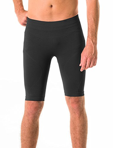 Trius Men's Seamless Fitted Base Layer Low Compression Workout Shorts, Black, XXL