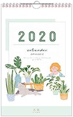 Tischkalender Kalendarien 2020 Frische Wandbehang Papier Kalender Protokoll Tagesterminplaner Jahr Agenda QX2B (Color : Green)