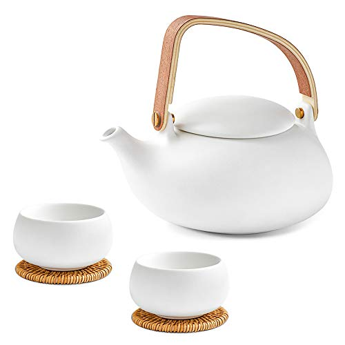(ZENS Teapot Set with Infuser,White Ceramic Tea Pot for Loose Leaf Tea Lover,Modern Asian Teapot Gift Set for Women with 2 Teacups & Rattan Coasters,27 OZ / 800 ml)