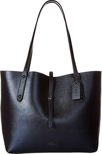 COACH Women's Metallic Leather Market Tote Gunmetal/Metallic Blue One ()