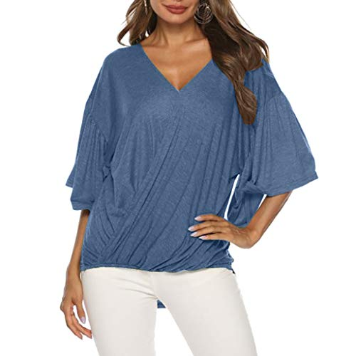 (V-Neck Solid Loose Tops, 2019 QIQIU Women's Fashion Short Flounce Sleeve Plus Size Sexy Holiday Blouse Shirt Blue)