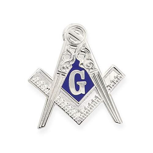 Forge Masonic Compass Enamel Silver Lapel Pin
