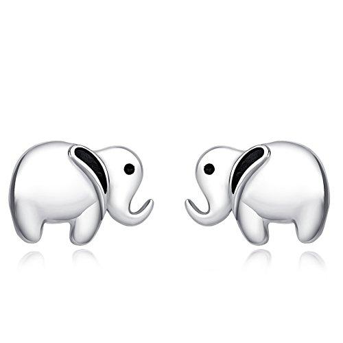 POPLYKE Sterling Silver Little Lucky Elephant Stud Earrings for Girls (Elephant Earrings)