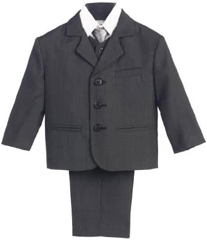 Infant Toddler Husky Boy's Dress Suit with Shirt Vest & Tie (5 Piece)