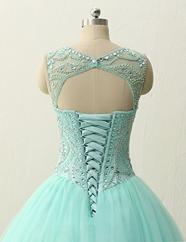 Prom Beading Dress Dresses Gown Gown Long Turquoise JAEDEN Ball Quinceanera Tulle x0H6Cq