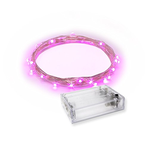 RTGS 20 Pink Color Micro LED String Lights Battery Operated on 7 Feet Silver Color Wire
