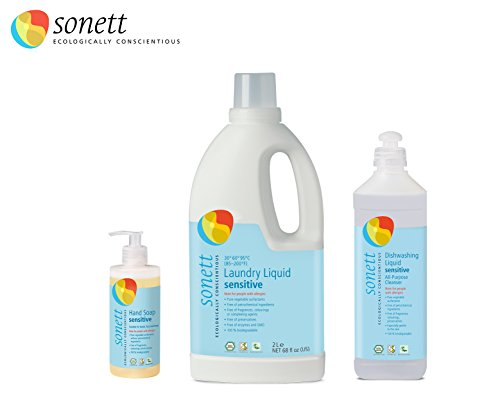 Sonett Organic Sensitive Set of 3 for Sensitive Skin and People with Allergies (Laundry Liquid, Hand and Body soap, All Purpose Cleaner)