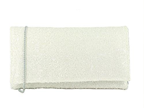 Of Bandoulière Pochette Soiree Scintillante Fete And Bag Paillette White z1S6qOSxn