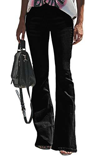 (CLOTPUS Womens High Waist Flared Bell-Bottom Denim Jeans Bootcut Wide Leg Pants Skinny Black M )