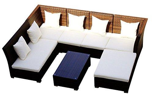 Baidani 10d00004.00002 Designer Lounge-Garnitur Thunder, 4-er Sofa, 2-er Sofa, 1 Hocker, Couch-Tisch mit Glasplatte, braun