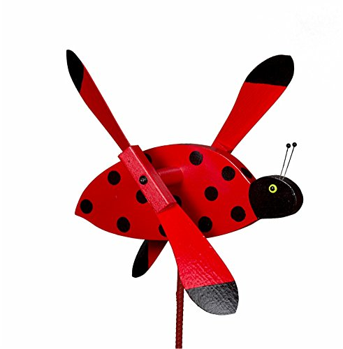 Whirlybird Ladybug Lawn Decoration Amish-made (Bugs Whirly)