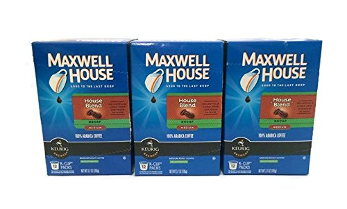 Maxwell House Cafe Collection Decaf House Blend K-Cups, 12-Count (Pack of 3)