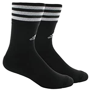 adidas Men's Copa Zone Training Crew Sock, Black/White, Large, Men's Shoe Size 9-13, Women's Shoe Size 10-12+