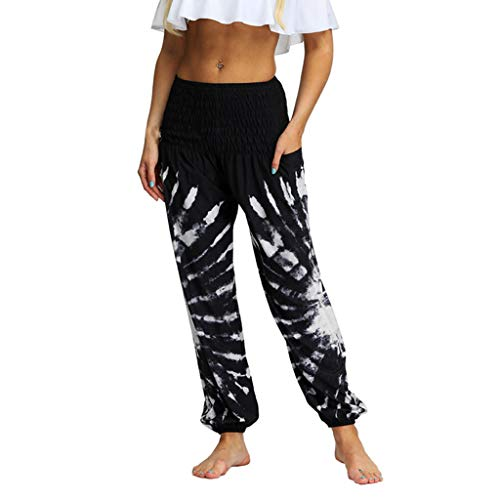 iHHAPY Women's Yoga Pants High Waist Thai Harem Trousers Boho Print Pants