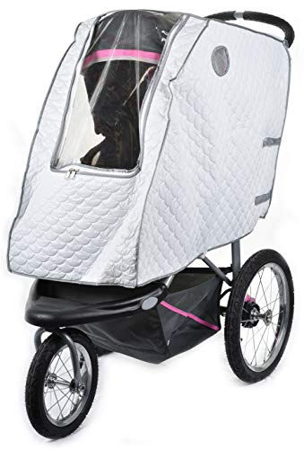 Baby Stroller Rain Cover - Provides Extra Warmth and Shields your Child from Wind and Rain. Universal Size, Mesh Material for Ventilation and Reflective Trimming for Night Visibility. (White, Quilted)