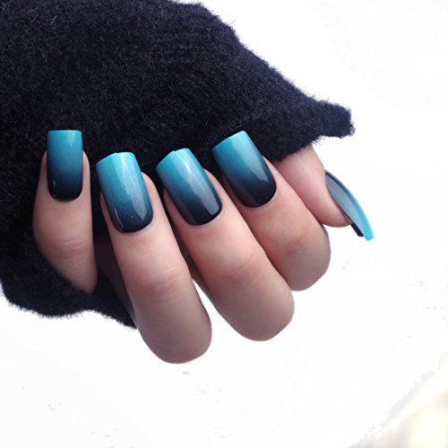 24pcs 12 Different Size Simple Gardient Blue Black Medium Length Square Full Cover False Nails with Design -
