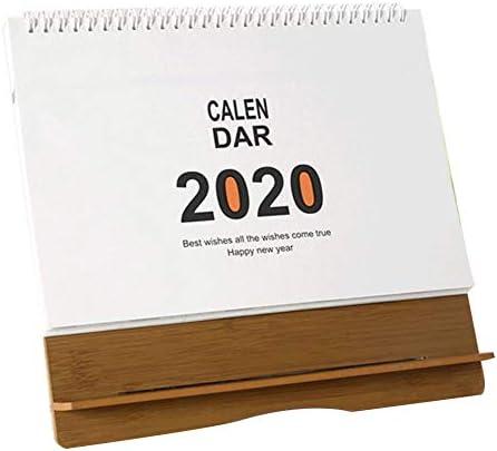 Blentude 2019-2020 Stehender Tischkalender - Flexibler monatlicher hölzerner Tischplattendekorationsstand-Oben Kalender für Büro und Haus
