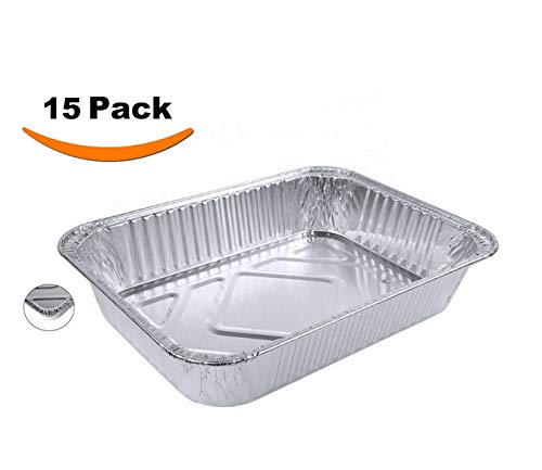 Aluminum Foil Pans - Set of 15 Pack, Disposable Steam Table Grill Drip Deep Trays, Meal Cooking, Baking, Roasting, Broiling, Heating Buffet Trays Tin Pans. Half Size Chafing Pans 8.5 X 6 X 1.5 inch