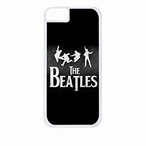 Beatles Silhouettes Logo- Hard White Plastic Snap - On Case with Soft Black Rubber Lining-Apple Iphone 5c Only - Great Quality!