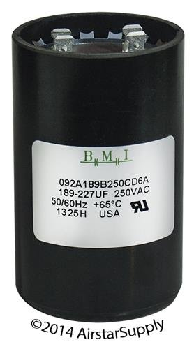 Pack 2 189-227 uF x 250 VAC BMI//USA Start Capacitor # 092A189B250CD6A with Bleed Resistor