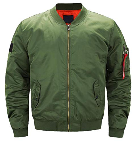 (XTX Mens Zipper Jacket Solid Plus Size Military Quilted MA-1 Warm Flight Jacket Army Green L)