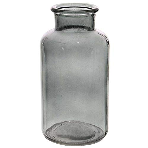 20 cm Angraves Grey Funnel Neck Glass Flower Vase Jar