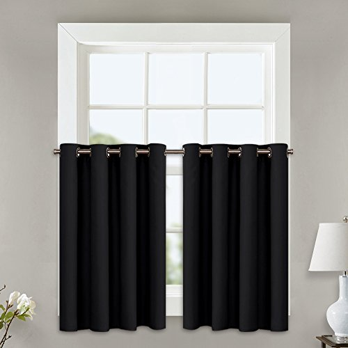 NICETOWN Black Small Window Curtains - Thermal Insulated Home Decor Blackout Grommet Drape Panels (52W by 24L + 1.2 Inches Header, 2 Pieces)