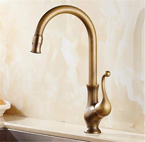 LUDSUY Bronze Brass Kitchen Faucets Brushed Bathroom Faucet Single Handle Crane Sink Tap Hot Cold Basin Faucet 360 Degree Deck Mounted
