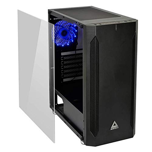 Montech Fighter 400 ATX Mid-Tower Computer Gaming Case/High-Airflow, Pre-Installed Blue Fan, Tempered Glass Window, Mesh Side Front Panel, Magnetic Dust Filter/ATX, MicroATX, Mini-ITX