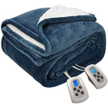 MARQUESS Electric Blanket MicroPlush Sherpa and Reversible Flannel Washable Comfortable with 10 Heat Settings/Safety 10 Hours Auto-Off Controller King Size Bed Blanket (100 x 90'' Navy Blue)